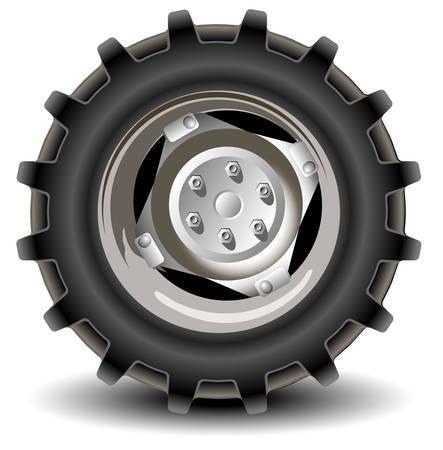 neumaticos: Ruedas de coches en detalles sobre fondo blanco con sombra, vector, ilustraci�n Vectores