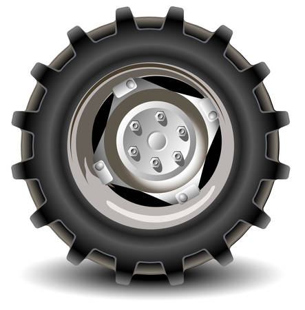 cerchione: Ruote auto in dettaglio su sfondo bianco con l'ombra, vettore, illustrazione
