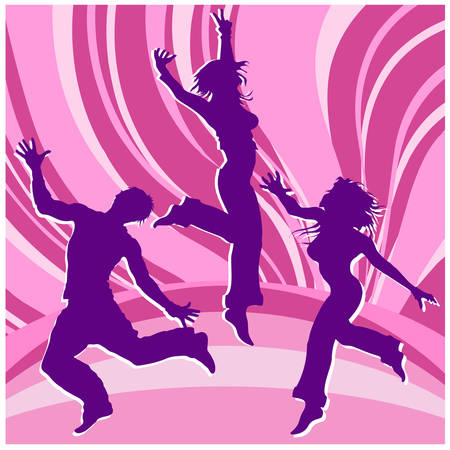 Dancing people, silhouette guys and girls in colour rainbows, illustration Stock Vector - 4483861