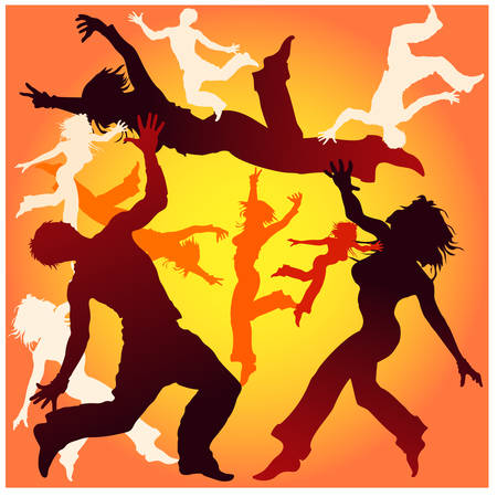 Contours of guys and girls executing dancing tricks, illustration in yellow Stock Vector - 4483869