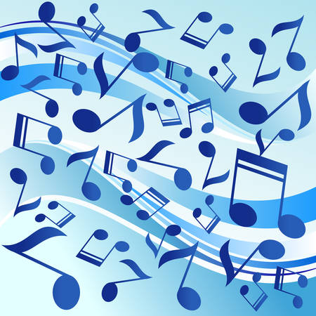 quaver: Series of musical dancing notes on blue background, illustration.