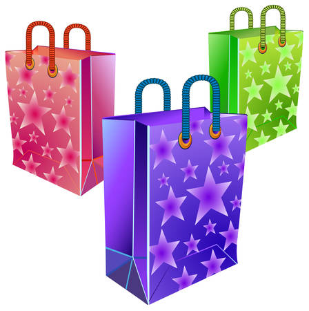 souvenirs: Set of multi-coloured packages for gifts and souvenirs, celebratory illustration