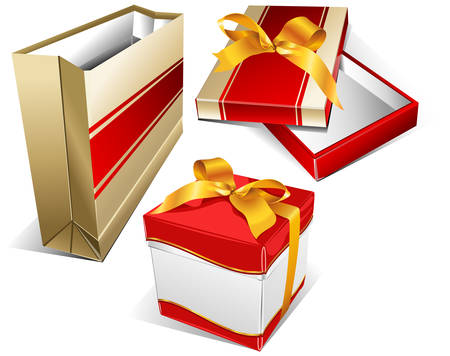 souvenirs: Package for meal, box for souvenirs, packing box for clothes, shopping illustration