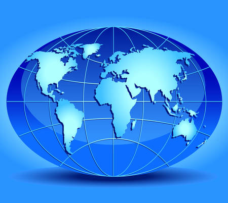 oceans: Model of globe with continents and oceans, globe in blue color, an illustration