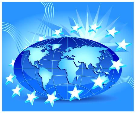 welded: Globe with stars of European Union in orbit, illustration in blue