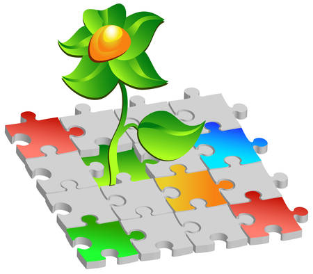 pasteboard: Flower making way through picture with multi-coloured puzzles, illustration