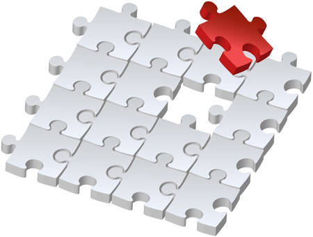 missing piece: Set of puzzles for game, combined picture with red puzzle, illustration