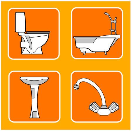 lavabo: Las pautas de un mosaico con ilustraciones de los t�cnicos sanitarios en color naranja, un vector de fondo
