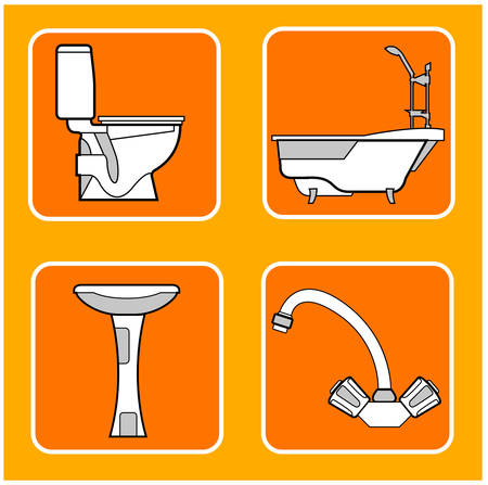 restroom: Patterns of a tile with illustrations sanitary technicians in orange, a vector background
