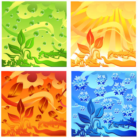 Landscape of different seasons summer, winter, spring, autumn, weather illustration Vector