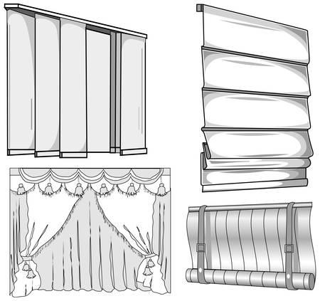 Gordijnen, jaloezie, horizontale en verticale, gesloten, patroon illustratie
