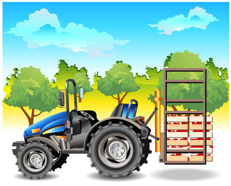 Agricultural machine, tractor in dark blue color, on field, vector an illustration