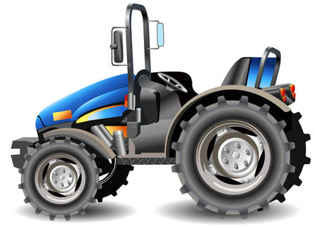 workings: Agricultural machine, tractor in dark blue color, isolated object, vector an illustration Illustration