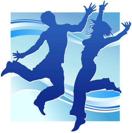 cleavage: Dancing people, silhouette guy and girl on blue background, illustration