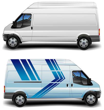 minibus: White and blue minibus cargo transportation, vector illustration