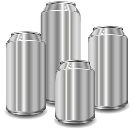 food waste: Little aluminum jars for drinks of different size, vector illustration