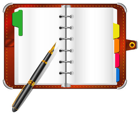 personal organizer: Personal organizer and pen isolated on white background, business illustration