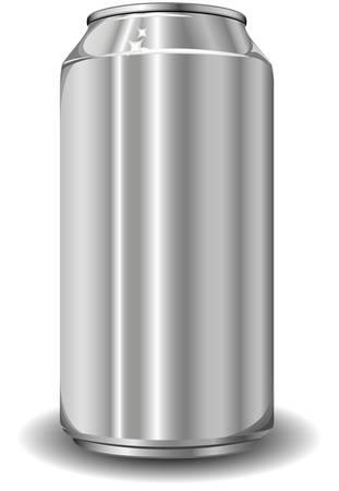 encasement: Aluminum jar for beer on white background, isolated object, vector illustration