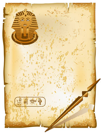 Hieroglyphic alphabet symbols - old letter, paper texture, vector illustration Illustration