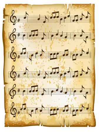 La música antigua hoja de papel con textura de los patrones naturales, ilustración vectorial