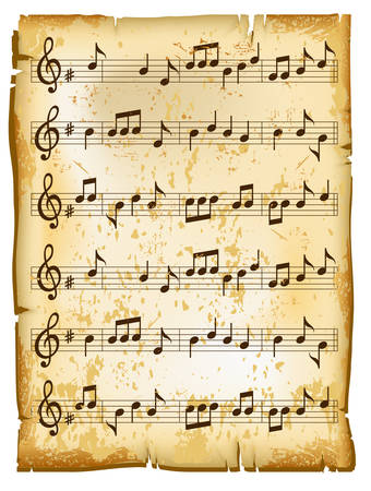 music sheet: Old music sheet of paper texture with natural patterns, vector illustration