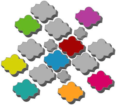 Samples of pavement tile, original form, different color, illustration vector