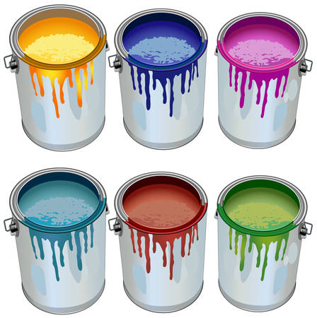 paint cans: Tins with building paint opened color, illustration, vector