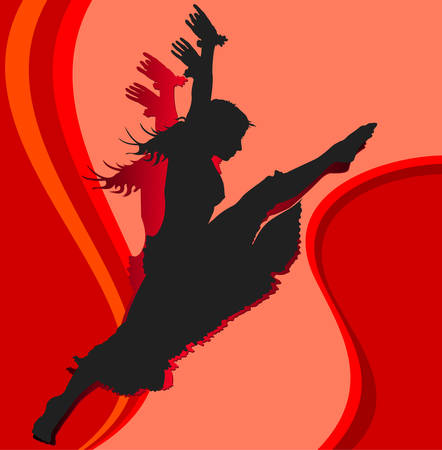 cleavage: Dancing girl, silhouette girl on red background, vector illustration