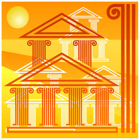 Background in style of ancient Greek architecture, yellow red illustration  Vector