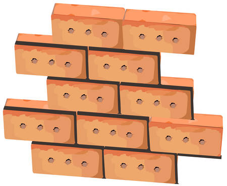 first house: First bricks of new house. Brick wall foundation isolated, illustration