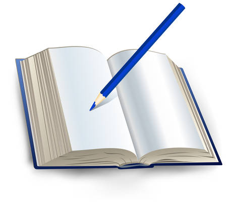 verses: Open book with white sheets and pencil, notebook for note, vector illustration