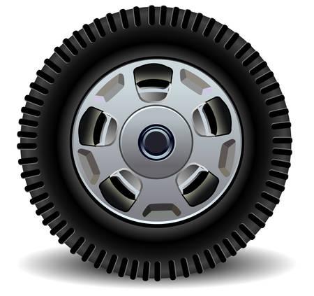 Auto wiel in de details op een witte achtergrond met schaduw, vector illustration