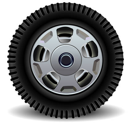 Car wheel in details on white background with shadow, vector, illustration Stock Vector - 4531148