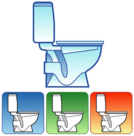 Toilet bowl white on color background, in details drawn, vector illustration for bathroom