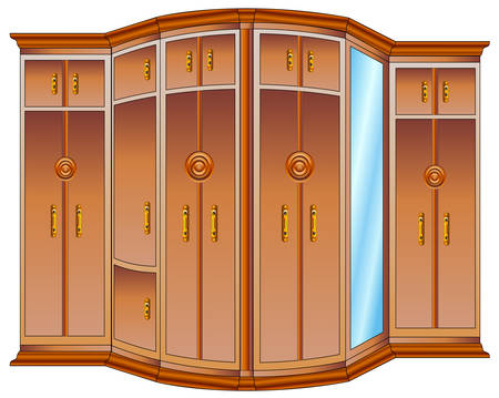 furniture idea: Modern large wooden wardrobe with mirror and carved handles, illustration Illustration