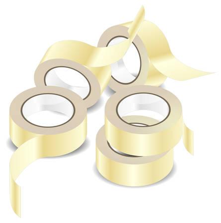 adhesive: Rollos de cinta adhesiva, objeto aislado en el fondo blanco, ilustraci�n oficina