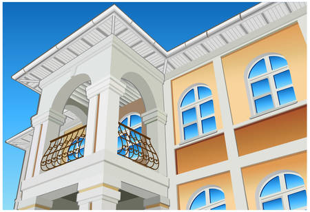 multistorey: Balcony with columns and beautiful view, private residence, illustration