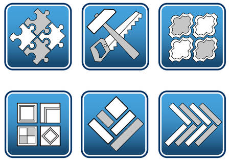 materiali edili: Mosaico da diversi tipi di materiali da costruzione e strumenti, illustrazione vettoriale