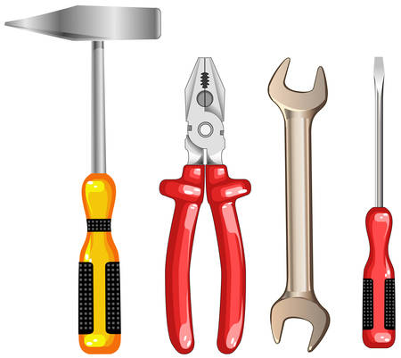 tooling: Composition from tooling, hammer, screw, pliers, wrench, vector illustration