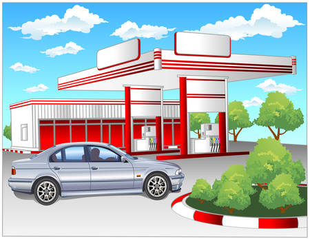 protecting: Illustration of gas refuel station with small shop office and