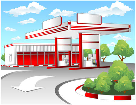 Illustration of red gas refuel station with small shop office Stock Vector - 4531145