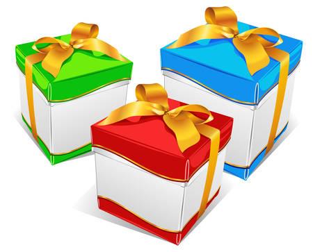 three gift boxes: Tres cajas de regalo con cinta de color diferente, ilustraci�n vectorial