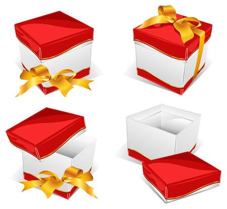 instru��o: Gift box with bow, instruction on opening, celebratory illustration