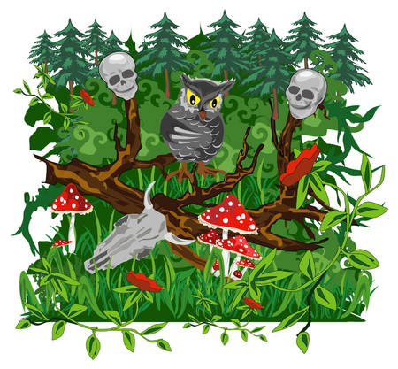 Owl on branch of tree in terrible dense wood, animated illustration Vector