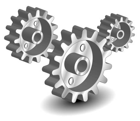 thinking machines: Vector gears, isolated object on white background, technical, mechanical illustration
