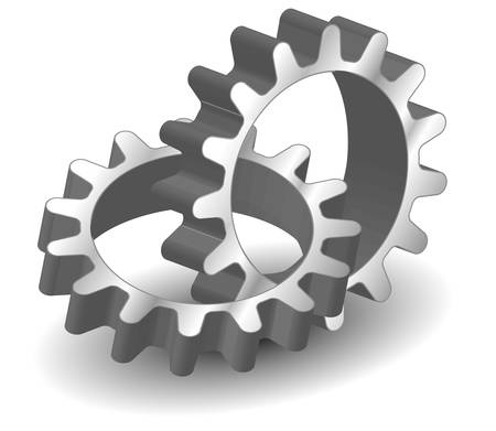 communication metaphor: Vector gears, isolated object on white background, technical, mechanical illustration