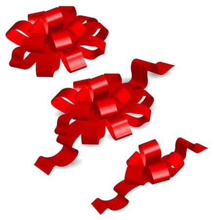 secret love: Arcos rojos sobre fondo blanco, cinta de regalo, objetos aislados, ilustraci�n vectorial Vectores