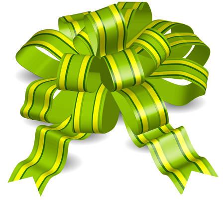 secret love: Arco verde sobre fondo blanco, la cinta de regalo de objetos aislados, ilustraci�n vectorial Vectores