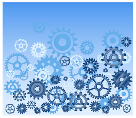 Vector gears background in blue, technical, mechanical illustration pattern Vector