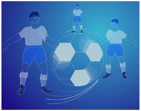 Soccer players silhouette with ball in blue background, sport vector illustration Vector